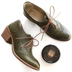 "Frye | ""Maggie"" Chunky Heel Wingtip Brogue Oxford"